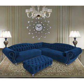 An Image of Huron Malta Plush Velour Fabric Corner Sofa In Navy