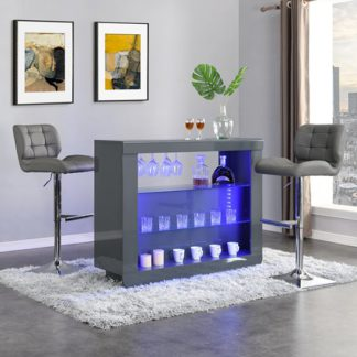 An Image of Fiesta Grey High Gloss Bar Table With 2 Candid Grey Stools