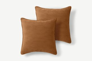 An Image of Selky Set of 2 Corduroy Cushions, 50 x 50cm, Dark Tan