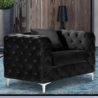 An Image of Mills Malta Plush Velour Fabric Armchair In Cosmic