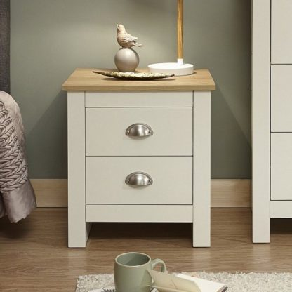 An Image of Crick Bedside Cabinet In Cream With Oak Effect Top