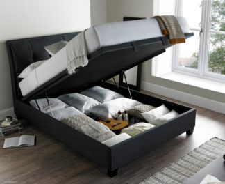 An Image of Accent Slate Fabric Ottoman Storage Bed Frame - 6ft Super King Size