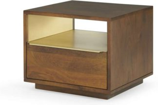 An Image of Anderson Bedside Table, Mango Wood & Brass