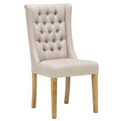 An Image of Kipling Fabric Dining Chair, Cream and Oak