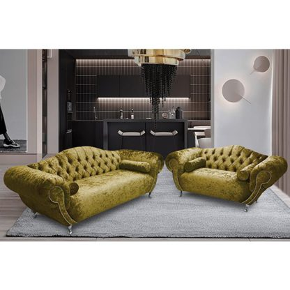 An Image of Huron Velour Fabric 2 Seater And 3 Seater Sofa In Grass