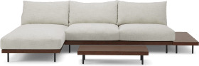 An Image of Zita Modular Chaise End Corner Sofa with 2 Side Tables, Kyoto Oyster
