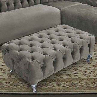 An Image of Huron Malta Plush Velour Fabric Footstool In Putty