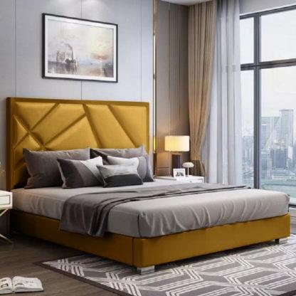 An Image of Cherokee Plush Velvet Single Bed In Mustard