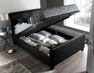 An Image of Allendale Black Faux Leather Ottoman Storage Bed Frame - 4ft6 Double