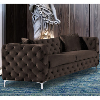 An Image of Mills Malta Plush Velour Fabric 3 Seater Sofa In Taupe