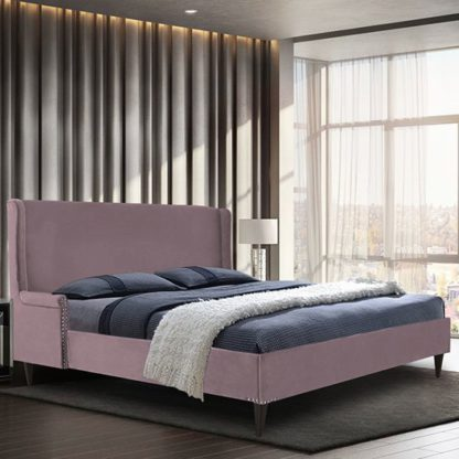 An Image of Scottsbluff Plush Velvet Double Bed In Pink