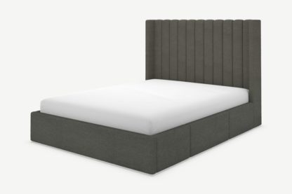 An Image of Cory Double Bed with Storage Drawers, Granite Grey Boucle