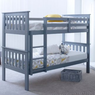 An Image of Atlantis Grey Wooden Bunk Bed Frame - 3ft Single