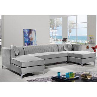 An Image of Asbury U-Shape Plush Velvet Corner Sofa In Silver