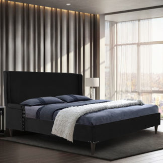 An Image of Scottsbluff Plush Velvet Small Double Bed In Black