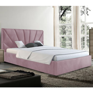 An Image of Hixson Plush Velvet Double Bed In Pink