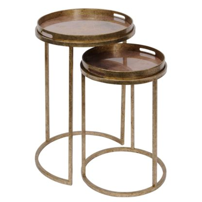 An Image of Set Of 2 Atlas Side Tables, Antique Gold