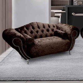 An Image of Huron Malta Plush Velour Fabric 2 Seater Sofa In Taupe