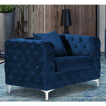 An Image of Mills Malta Plush Velour Fabric Armchair In Navy