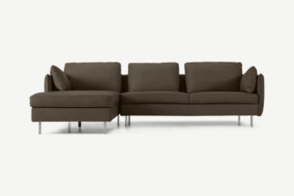 An Image of Vento 3 Seater Left Hand Facing Chaise End Sofa, Texas Brown Leather