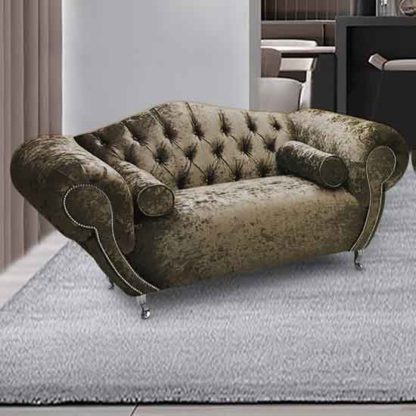 An Image of Huron Malta Plush Velour Fabric 2 Seater Sofa In Parchment