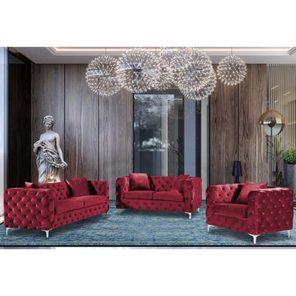 An Image of Mills Malta Plush Velour Fabric Sofa Suite In Red
