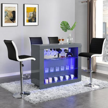 An Image of Fiesta Grey High Gloss Bar Table With 4 Ritz Black White Stools