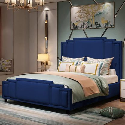 An Image of Enumclaw Plush Velvet Double Bed In Blue
