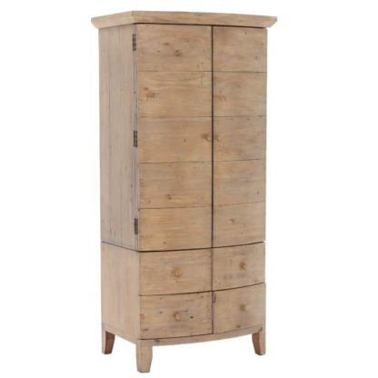 An Image of Lewes Reclaimed Wood Small Wardrobe, Wheat