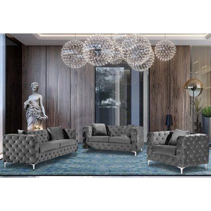An Image of Mills Malta Plush Velour Fabric Sofa Suite In Grey