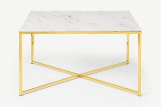 An Image of Alisma Square Coffee Table, Frosted Marble Effect Glass & Brass