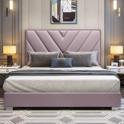 An Image of Dewitt Plush Velvet Small Double Bed In Pink
