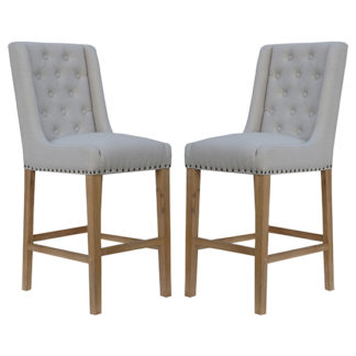 An Image of Rugeley Natural Fabric Button Back Bar Stools In Pair