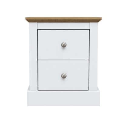 An Image of Devon Wooden Bedside Cabinet In White With 2 Drawers