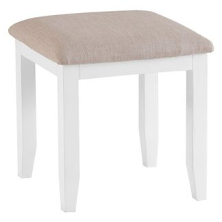 An Image of Tyler Wooden Dressing Stool In White
