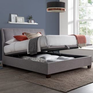An Image of Accent Light Grey Fabric Ottoman Storage Bed Frame - 4ft6 Double