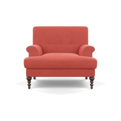 An Image of SCP Oscar Formal Armchair Broad Weave Lagoon Walnut Feet