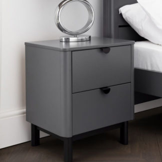 An Image of Chloe Wooden Bedside Cabinet In Strom Grey With 2 Drawers