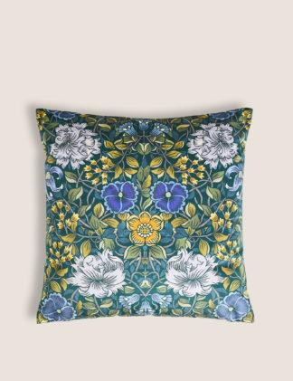 An Image of M&S Velvet Mirror Floral Print Cushion