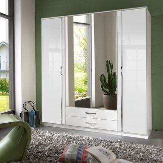 An Image of Luton Mirror Wardrobe In High Gloss White With 4 Doors