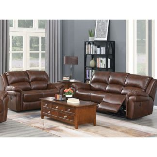 An Image of Farnham Leather 3 And 2 Seater Sofa Suite In Tan