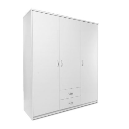 An Image of Meissen Wooden Wardrobe In White With 3 Doors And 2 Drawers