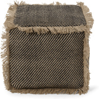 An Image of Kirby Square Textured Pouffe, Jute & Black Cotton Blend