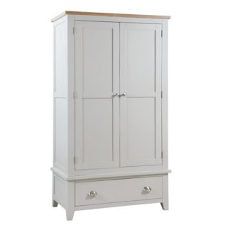 An Image of Bohemia Wooden Wardrobe In Grey With 2 Doors And 1 Drawer
