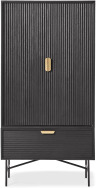An Image of Haines Tall Cabinet, Charcoal Black Mango Wood