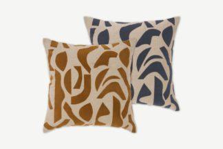 An Image of Lafant Set of 2 Flocked Cushions, 50 x 50cm, Multi