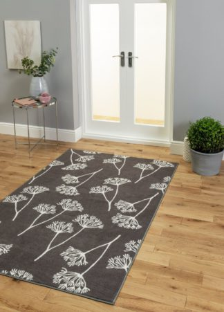 An Image of Habitat Cow Parsley Rug - 120x170cm - Charcoal