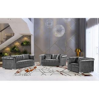 An Image of Kenosha Malta Plush Velour Fabric Sofa Suite In Grey