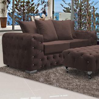 An Image of Worley Malta Plush Velour Fabirc 3 Seater Sofa In Mushroom