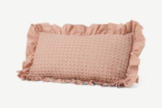 An Image of Lozen Waffle 100% Organic Cotton Cushion, 30 x 50cm, Plaster Pink